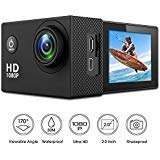 Bekhic Action Camera 12MP Full HD 1080P Waterproof Action Cam 30M Diving Underwater Camera with 10 Mounting Accessories, 170 Degree Wide Angle, IP68 Waterproof Case and 1050mAh Rechargeable (Black) Bekhic