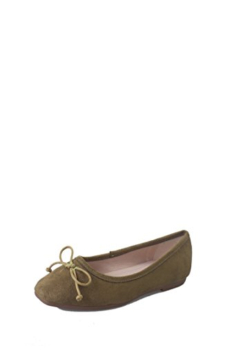 LEIT Women's Casual Single Shoes Square Head Bow Tie Flat Suede Green HfqER5o0Y