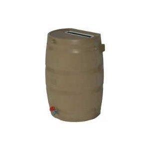 50-Gallon Rain Water Collection Barrel With Brass Spigot - Tan Finish (Rain Wooden Barrels)