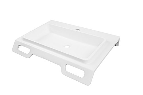 DECOLAV 1834-SSA Nasira Solid Surface ADA Compliant Wall-Mount Lavatory Sink, White