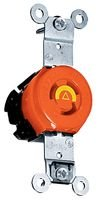 Hubbell Wiring Systems IG4700A SpikeShield Twist-Lock Isolated Ground Duplex Receptacle, Back and Side Wired, 125V, 15A, 2-Pole, 3-Wire, Orange Lock Duplex Receptacle