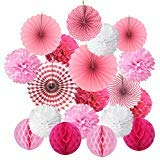 Cocodeko SG_B0771B8PGW_US Hanging Set, Tissue Paper Poms Flower Fan and Honeycomb Balls for Birthday Baby Shower Wedding Festival Decorations-Pink, 3 Gram