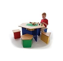 Kids Wooden U0026quot;Shapesu0026quot; Table And Stools Lego Activity Table