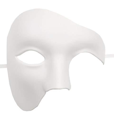 Mens Masquerade Mask Phantom of The Opera Mask Venetian Half Face Mask Halloween Costumes (White)