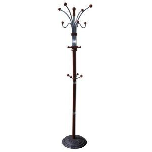 685CH Six Foot Wood and Chrome Coat Rack Cherry Finish