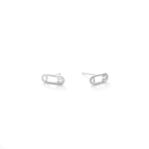 (Sterling Silver Safety Pin Stud Earrings)
