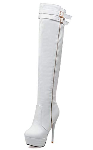 Over Knee Heel The Women Thigh Tall Ladies Stiletto Boots Buckle Vitalo White Boots High Platform wnYg0XIYq