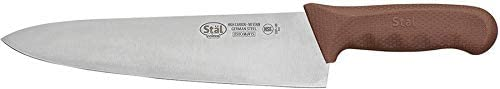 """Winco KWP-100N, 10"""" Stäl High Carbon Steel Chef's Knife with Brown Polypropylene Handle, Professional Cook's Knife"""