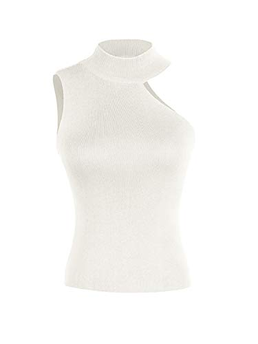 Sollinarry Women's Sleeveless One Shoulder Choker Tops Knitted Basic Cut Out Slim Shirts White One Size