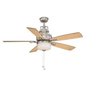 Hampton Bay 52 Inch Brushed Nickel Ceiling Fan With Light an