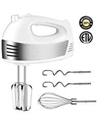 Hand Mixer with 5-Speed 250W Power Advantage Electric Handheld Mixer with Turbo and Easy Eject Button,Includes Storage Case Beaters Dough Hooks and Balloon Whisk, by KEEMO-White
