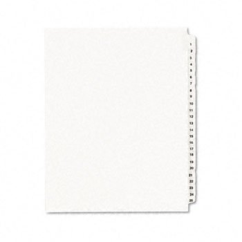Avery® White Legal Index Dividers INDEX,LTR,1/25#1-25,25WHT (Pack of30)
