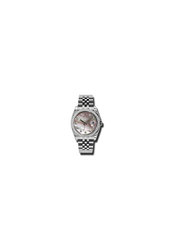 - Rolex Oyster Perpetual Datejust 36 Black Mother of Pearl Dial Stainless Steel Jubilee Bracelet Automatic Mens Watch 116244BMDJ
