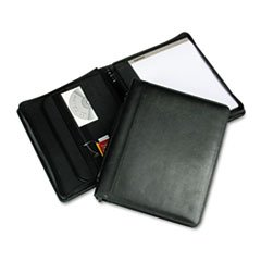 * Leather Multi-Ring Zippered Portfolio, Two-Part, 1'' Cap, 11 x 13-1/2,