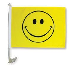 12x18 Happy Face Single-Sided Car Flag Premium Window Vehicle 12