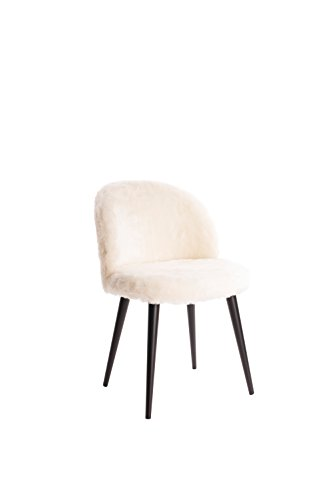 Cheap Elle Decor CHR10016A Elle Décor Cami Vanity Chair, Cream Faux Fur