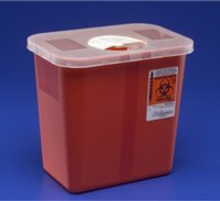 Kendall Multi-purpose Sharps Containers 2 Gallon 10''h X 7.25''d X 10.5''w Red Container W/ Rotor Lid - Model 8970 - Each