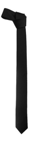 Black Slim Tie (New Mens Solid Black Retro Skinny Necktie 1.5