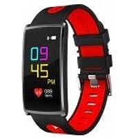 Torus Pro N68Traqueur d'activité écran couleur avec podomètre, tensiomètre, moniteur de sommeil, de fréquence cardiaque et de saturation en oxygène, application smartphone, charge USB (noir/rouge)