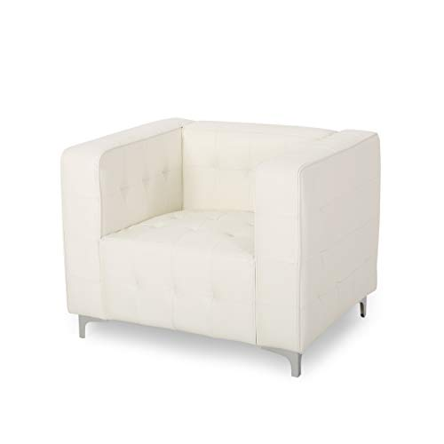 Laura Modern Glam Leather Cube Club Chair, White and Chrome