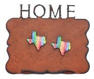 Texas Rust Frame With Two Texas Magnets In Multi Stripes