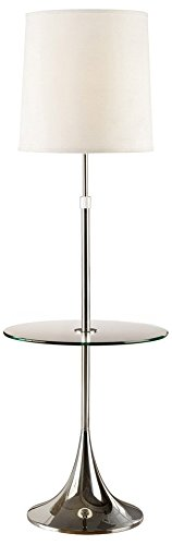 Traditional Table Torchiere Lamp - Artiva USA Enzo, Adjustable 52 to 65-inch Modern Chrome Floor Lamp with Tempered Glass Table