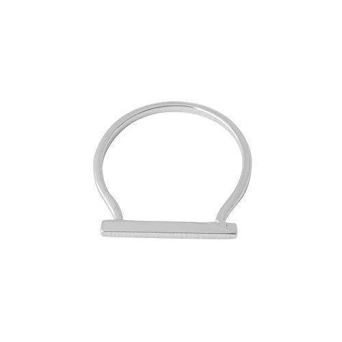 HONEYCAT Long Bar Ring | Minimalist, Delicate Jewelry (Silver, 7) ()