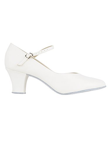 So Danca CH792 mit Ansteck Button Charakterschuhe Damen Latein Salsa Rumba Tanz Schuhe Riemchen Abs. 5 cm Weiß
