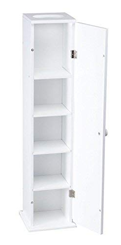 - Moon Daughter White Narrow Slim Wall Cabinet Storage Bathroom Shelves Toilet Holder Tissue NEW