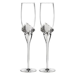 (HBHTM Calla Lily Flute Glasses; Clear/Silver )