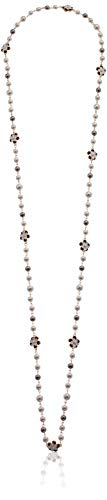 Charm Grey Pearl - Fashion Jewelry MISASHA Bridal and Chic Long Imitation Pearl Clover Strand Necklace (Flower Charms)