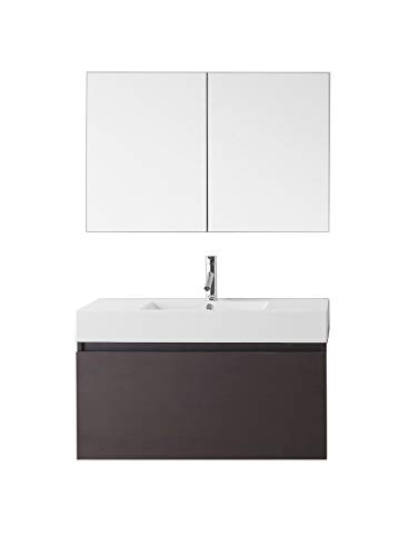 Virtu USA Zuri 39 inch Single Sink Bathroom Vanity Set in Wenge w/Integrated Square Sink, White Polymarble Countertop, Single Hole Polished Chrome, 1 Mirror - JS-50339-WG ()