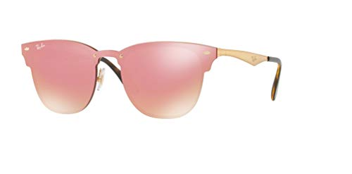 Ray-Ban RB3576N BLAZE CLUBMASTER 043/E4 41M Brushed Gold/Pink Mirror Sunglasses For Men For Women (Mirrored Wayfarers Ray Ban)