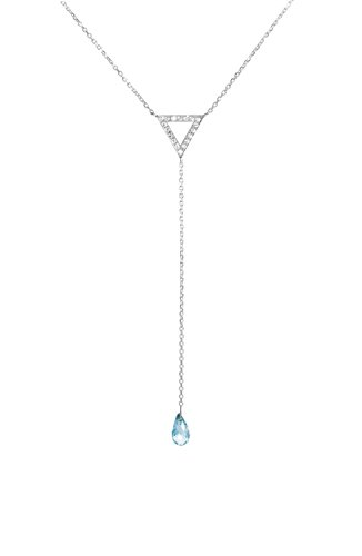 Blue Topaz Gold Y Necklace, Diamond Gold Necklace, 9K, 14K, 18K Gold Triangle Necklace, White Gold Triangle, Gift For Her, Topaz Drop Y Necklace /code: 0.003 ()