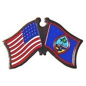 World National Flag (Metal Lapel Pin - American and World National Flag Crossed - Guam)