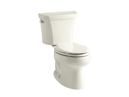 KOHLER K-3988-96 Wellworth Two-Piece Elongated Dual-Flush Toilet with Class Five Flush System and Left-Hand Trip Lever, Biscuit Biscuit Dual Flush