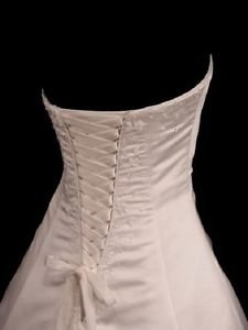 Wedding Gown Zipper Replacement Adjustable Fit Corset Back Kit Lace-Up IVORY SATIN