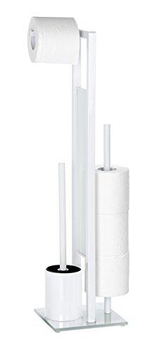 Wenko 21565100 Stand WC-Garnitur Rivalta Weiß, WC-Bürstenhalter, Stahl, 18 x 70 x 20 cm