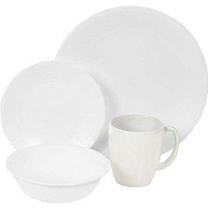High Quality Corelle Livingware 16 piece Dinnerware Set Service for 4 Winter Frost White