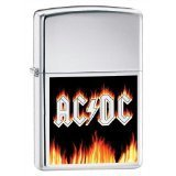 Zippo AC/DC Flames Brushed Chrome Pocket Lighter