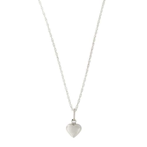 - 14k White Gold Tiny Puffed Heart Pendant Necklace - 15