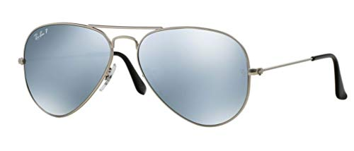 (Ray-Ban RB3025 Aviator Large Metal Unisex Polarized Aviator Sunglasses (Silver Frame/Silver Mirror Polarized Lens 019/W3, 58) )