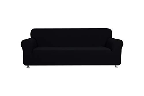 Fancy Collection Sure Fit Stretch Fabric Sofa Slipcover Sofa and Love Seat Covers Solid New #Stella (Black, 2 pc Set)