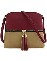 Lightweight Colorblock Medium Crossbody Bag with Tassel (Wine/Taupe)