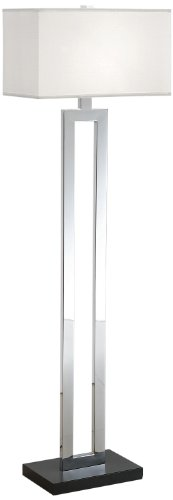 Artiva USA Geometric, Contemporary Design, 60-Inch Chrome & Black Contrast Floor Lamp with Rectangular Hardback Shade ()