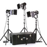 Smith Victor K63, 3 Q60SG, 1800-Watt Quartz Broad Lighting Kit with Light Cart on Wheels Carrying Case.