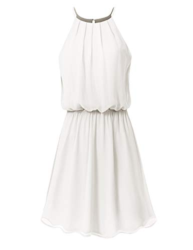JSCEND Women's Sleeveless Double Layered Pleated Neck Cami Chiffon Mini Dress (S~3XL) A-Ivory ()