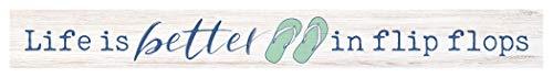 P. Graham Dunn Life Flip Flops Nautical Blue 14 x 2 Pine Wood Decorative Little Sign Plaque ()