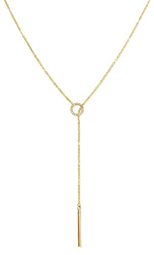 Bar Lariat (Benevolence LA Gold Necklace Lariat Drop Y Vertical Bar: 14k Gold Diamond Shaped Open Circle Cubic Zirconia Looped Long Chain or Women by Candace Cameron)