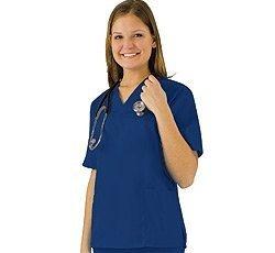 (Women's Scrub Set - Medical Scrub Top and Pant, Dark Royal Blue,)